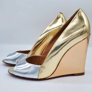 SCHUTZ Guilhermina Metallic Open Toe Wedges, sz 9